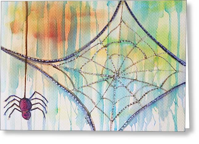 Greeting Card featuring the painting Water Web by Angelique Bowman
