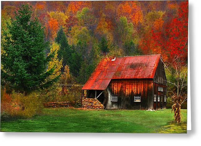 Water Wheel Barn Greeting Card