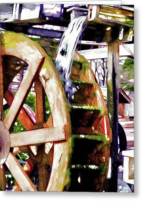 Water Wheel Detail 1 Greeting Card by Lanjee Chee