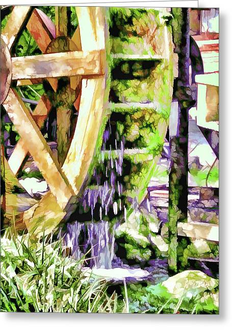 Water Wheel Detail 2 Greeting Card by Lanjee Chee