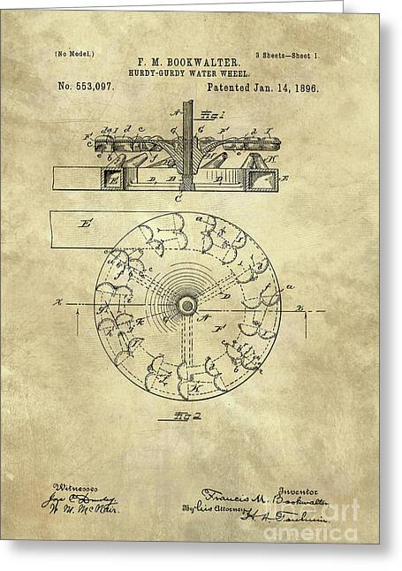 Water Wheel Hurdy Gurdy Vintage Blueprint Patent Drawing 1896 Greeting Card by Tina Lavoie