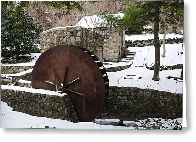 Water Wheel In Winter - Lower Merion Pa Greeting Card by Bill Cannon