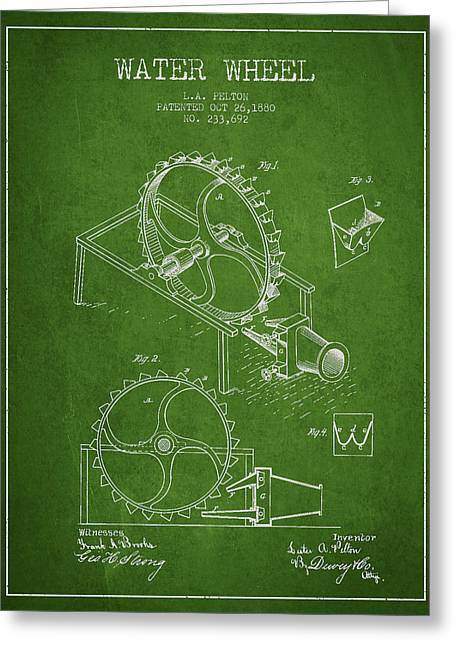 Water Wheel Patent From 1880 - Green Greeting Card