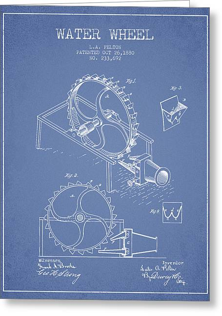 Water Wheel Patent From 1880 - Light Blue Greeting Card