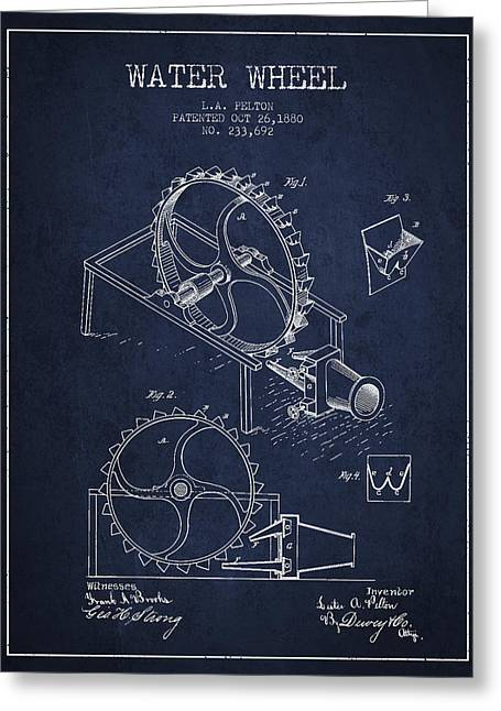 Water Wheel Patent From 1880 - Navy Blue Greeting Card by Aged Pixel