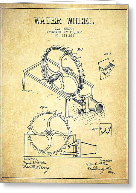 Water Wheel Patent From 1880 - Vintage Greeting Card