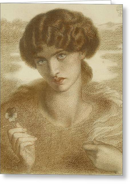 Water Willow - Study Of Female Head And Shoulders Greeting Card by Dante Gabriel Rossetti
