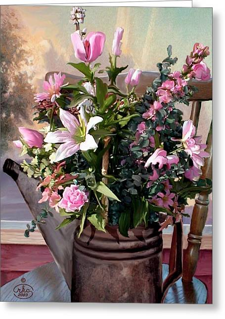 Watercan Bouquet Greeting Card by Ron Chambers