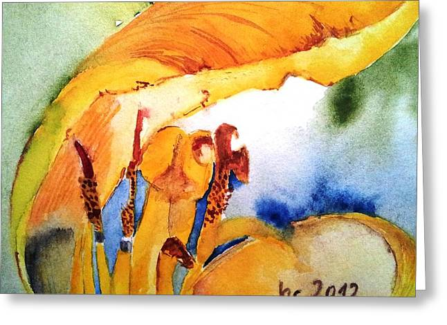Watercolor .... Tulip Interiors Greeting Card by Jacqueline Schreiber