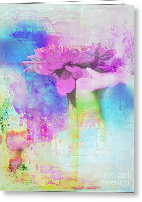 Watercolor Abstract Flower In Purple And Blue Greeting Card