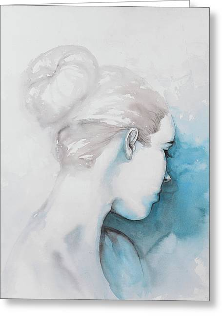 Watercolor Abstract Girl With Hair Bun Greeting Card by Atelier B Art Studio