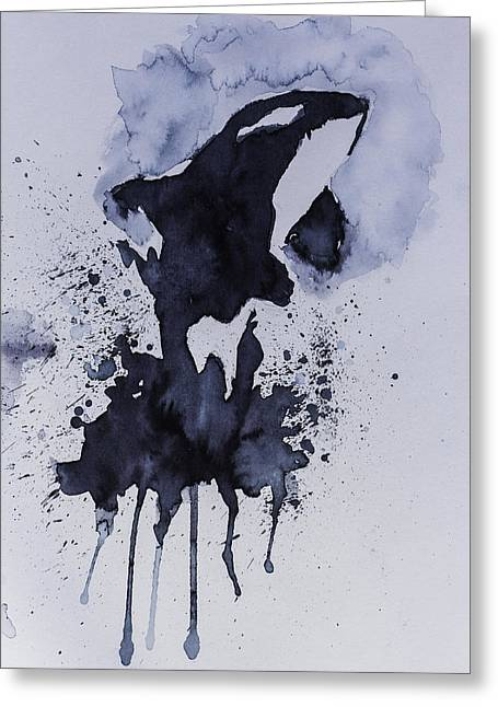 Watercolor Abstract Killer Whale Painting Greeting Card by Andy Gimino