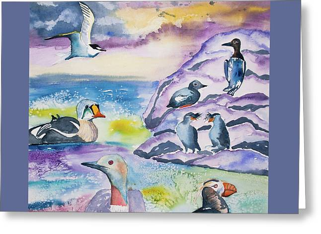 Watercolor - Alaska Seabird Gathering Greeting Card