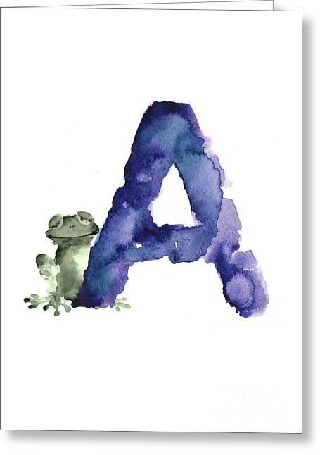 Watercolor Alphabet A Frog Painting Greeting Card
