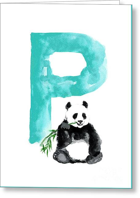 Watercolor Alphabet Giant Panda Poster Greeting Card by Joanna Szmerdt