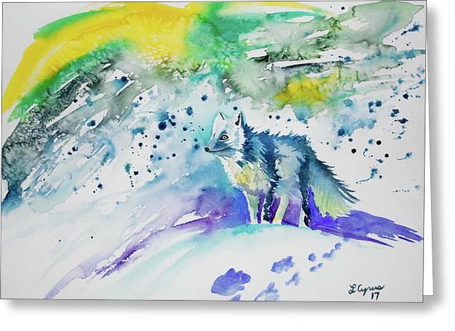 Watercolor - Arctic Fox Greeting Card