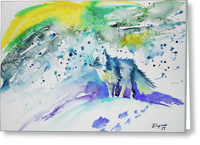 Greeting Card featuring the painting Watercolor - Arctic Fox by Cascade Colors