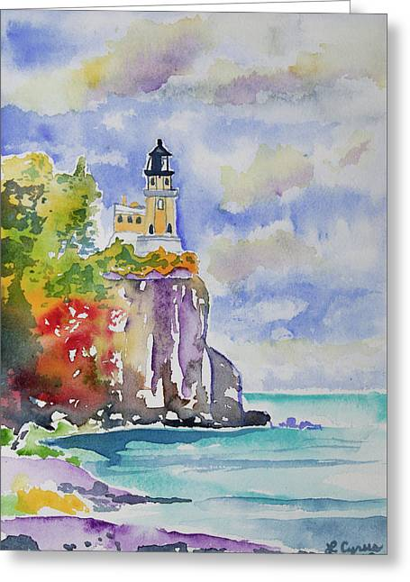 Watercolor - Autumn At Split Rock Lighthouse Greeting Card
