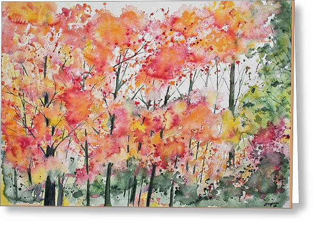 Greeting Card featuring the painting Watercolor - Autumn Forest by Cascade Colors