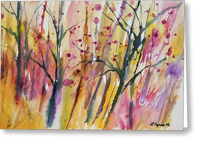 Greeting Card featuring the painting Watercolor - Autumn Forest Impression by Cascade Colors