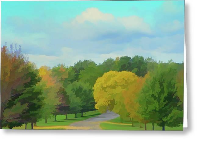 Watercolor Autumn Road Greeting Card