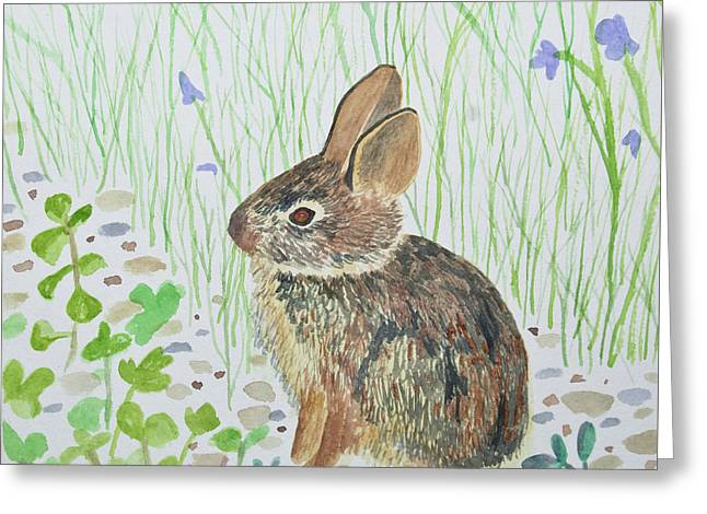 Greeting Card featuring the painting Watercolor - Baby Bunny by Cascade Colors