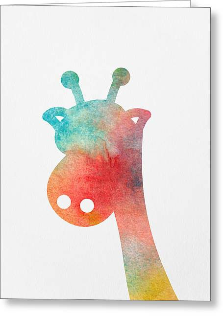 Watercolor Baby Giraffe Greeting Card by Nursery Art