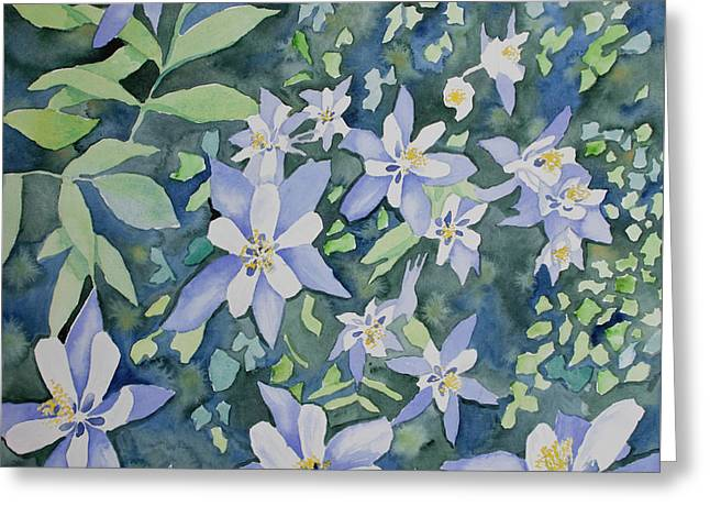 Greeting Card featuring the painting Watercolor - Blue Columbine Wildflowers by Cascade Colors