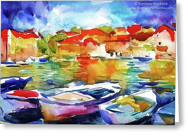 Watercolor Boats By Svetlana Novikova ( Greeting Card