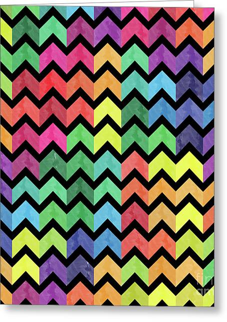 Watercolor Chevron Pattern Greeting Card by Amir Faysal