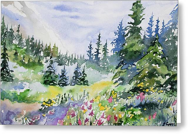 Greeting Card featuring the painting Watercolor - Colorado Summer Scene by Cascade Colors