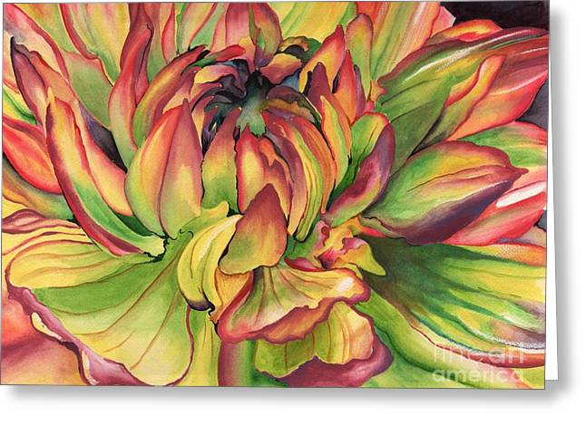Greeting Card featuring the painting Watercolor Dahlia by Angela Armano