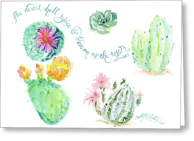 Desert In Bloom 1, Watercolor Desert Cacti N Succulents Inspirational Verse Greeting Card by Audrey Jeanne Roberts