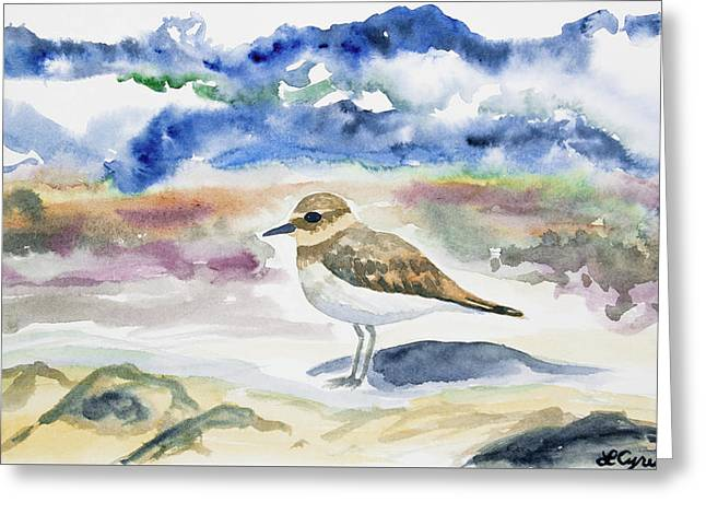 Greeting Card featuring the painting Watercolor - Double-banded Plover On The Beach by Cascade Colors