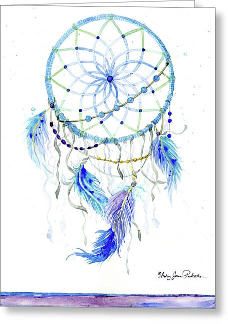 Watercolor Dream Catcher Lavender Blue Feathers 1 Greeting Card
