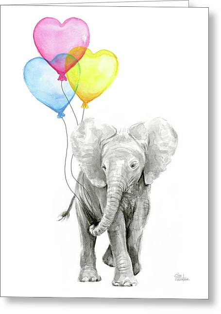 Watercolor Elephant With Heart Shaped Balloons Greeting Card