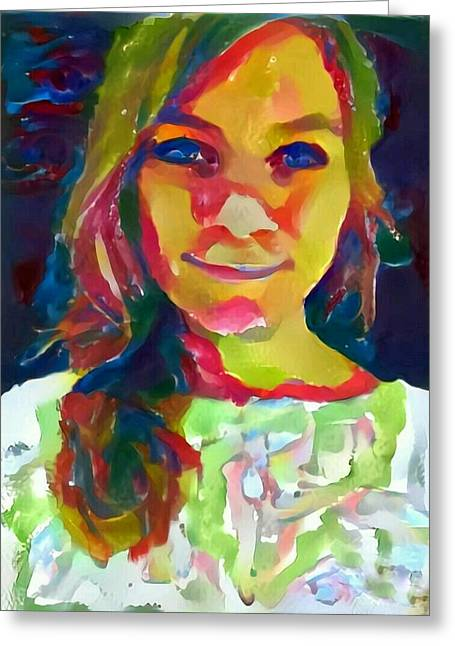 Watercolor Eve Female Portrait Painting Bathed In Sunshine And Vibrant Color Greeting Card by MendyZ