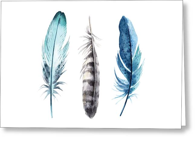 Greeting Card featuring the digital art Watercolor Feathers by Jaime Friedman