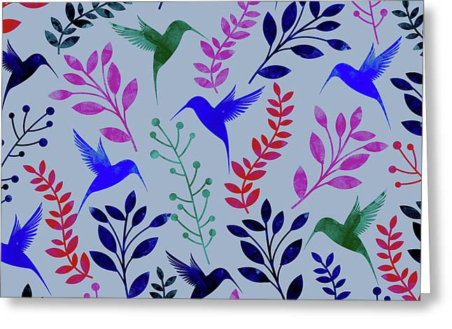 Watercolor Floral Birds Greeting Card by Amir Faysal