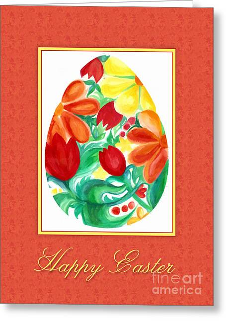 Greeting Card featuring the digital art Watercolor Floral Egg by JH Designs