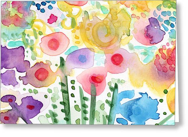 Watercolor Flower Garden- Art By Linda Woods Greeting Card