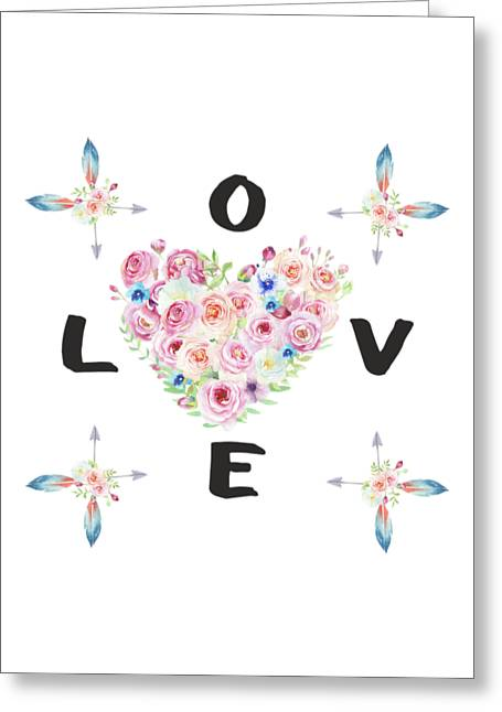 Greeting Card featuring the painting Watercolor Flowers Arrows Love Typography by Georgeta Blanaru