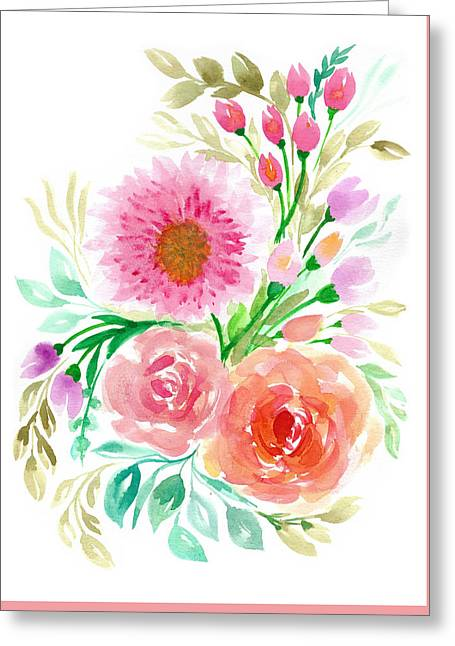 Watercolor Flowers Greeting Card by My Art