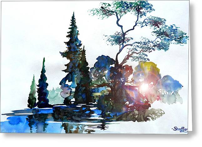 Watercolor Forest And Pond Greeting Card by Curtiss Shaffer