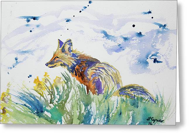 Watercolor - Fox On The Lookout Greeting Card