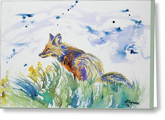 Greeting Card featuring the painting Watercolor - Fox On The Lookout by Cascade Colors