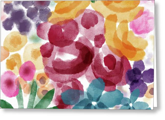 Watercolor Garden Flowers- Art By Linda Woods Greeting Card