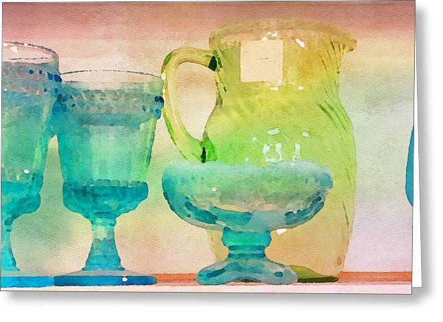 Watercolor Glassware II Greeting Card by Bonnie Bruno