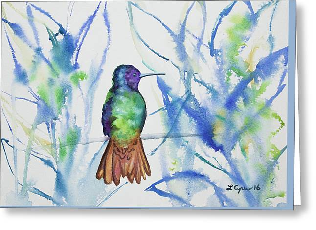 Greeting Card featuring the painting Watercolor - Golden-tailed Sapphire by Cascade Colors