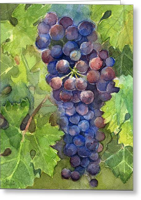 Watercolor Grapes Painting Greeting Card